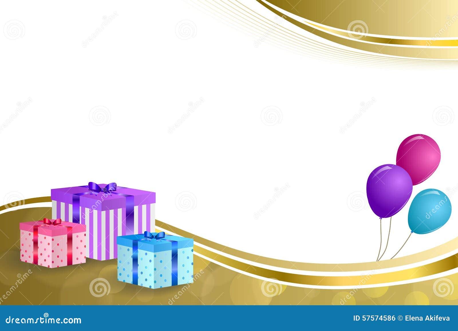 Geburtstagsfeiergeschenkbox-Rosas des Hintergrundes steigt violettes Blau des abstrakten beige Goldband-Rahmenillustration im Bal