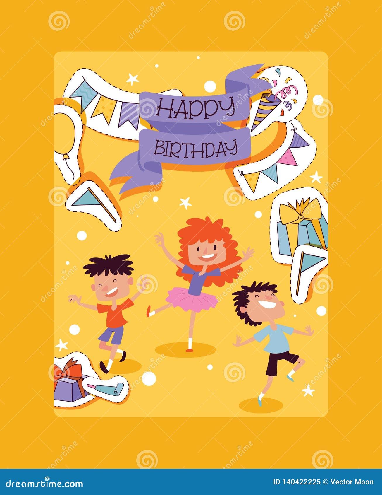 Geburtstagsfeiermustervektor-Kindercharaktere und Jahrestagskarikaturkinderglückliche Geburtsfeier mit Geschenken und