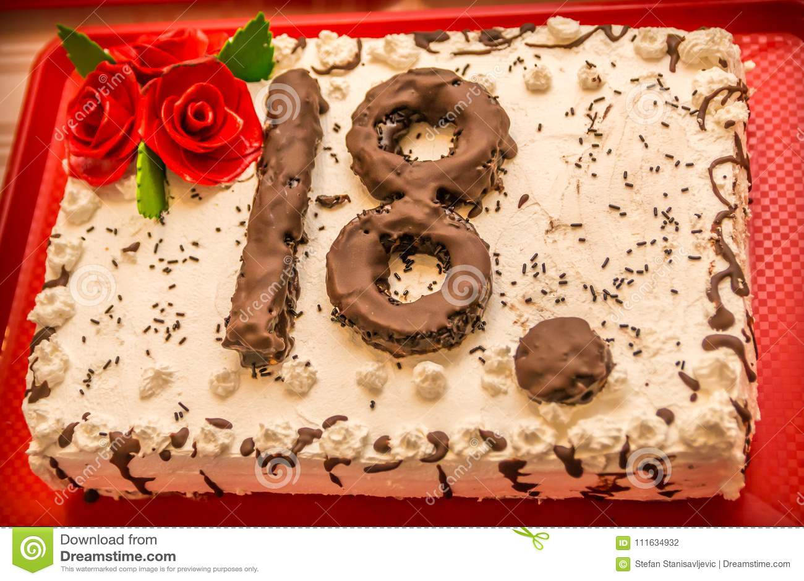 Geburtstagskuchen 18 Stockfoto Bild Von Grun Verziert 111634932