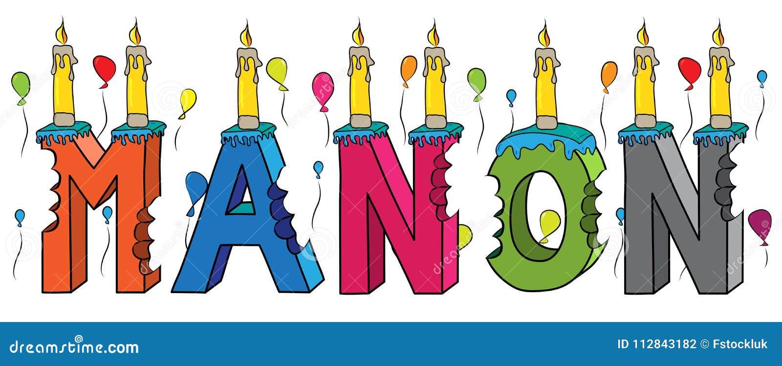 Geburtstagskuchen Beschriftung 3d Manon weiblicher Vorname gebissener bunter mit Kerzen und Ballonen