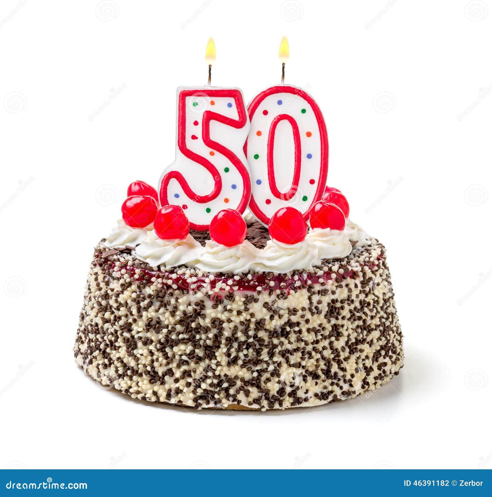 Geburtstagskuchen Mit Kerze Nr 50 Stockfoto Bild Von Brennen