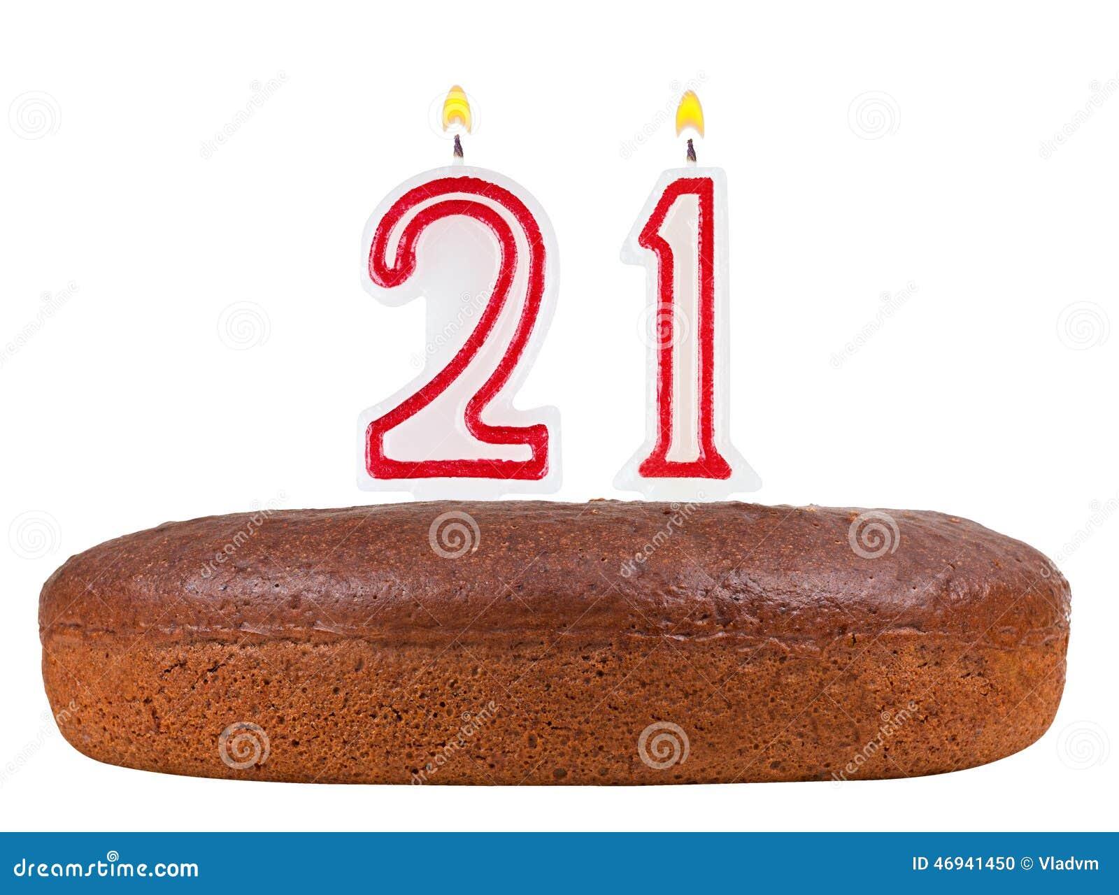 Geburtstagskuchen Mit Kerzen Nr 21 Lokalisiert Stock Abbildung