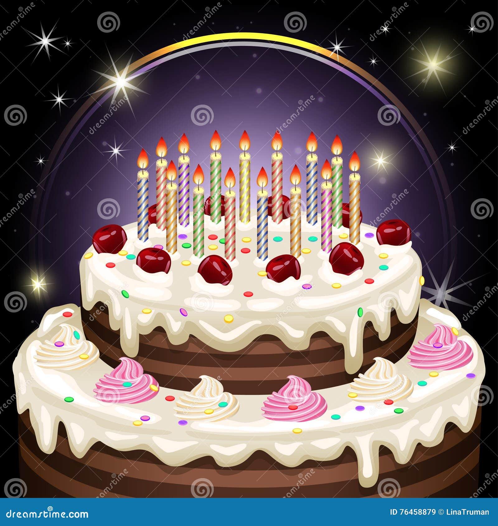 Geburtstagskuchen Mit Kerzen Und Dekoration Auch Im Corel ...