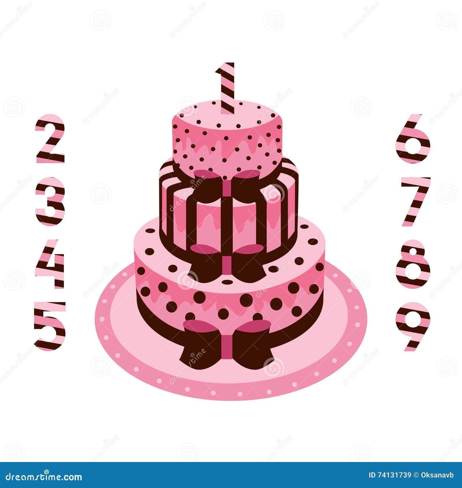 Geburtstagskuchen Mit Kerzenrosa Für Mädchen Vektor Abbildung