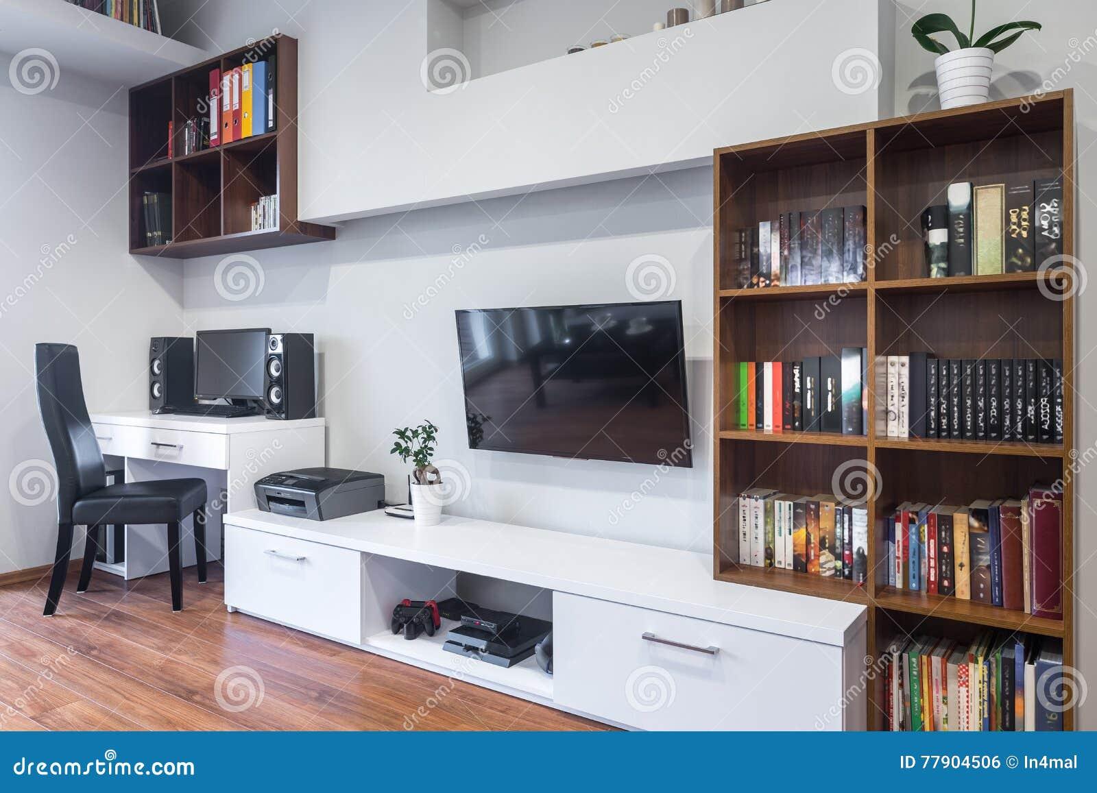 Gecombineerde woonkamer en bureau stock foto afbeelding