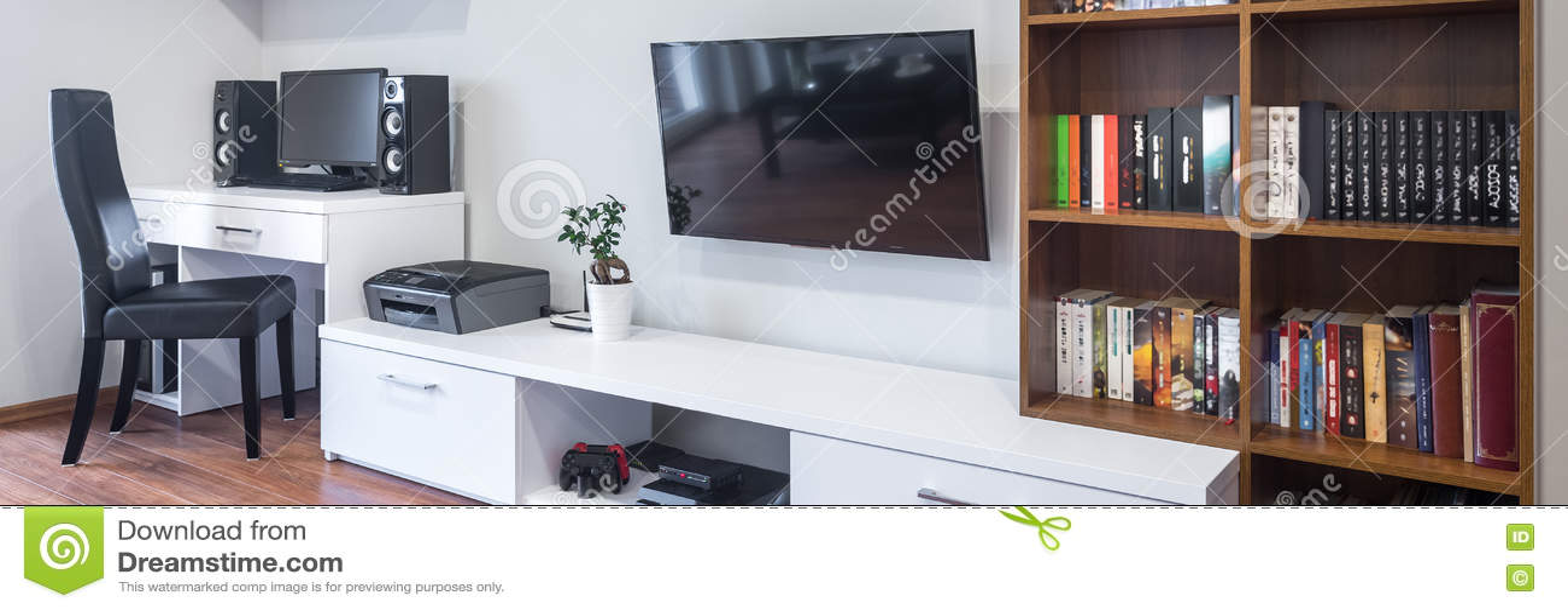 gecombineerde woonkamer en bureau