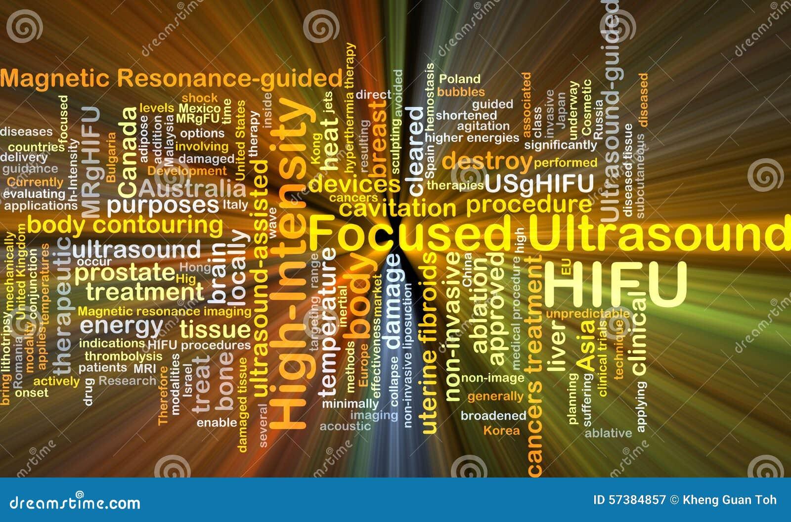 Geconcentreerd ultrasone klankhifu concept als achtergrond met hoge intensiteit glowin