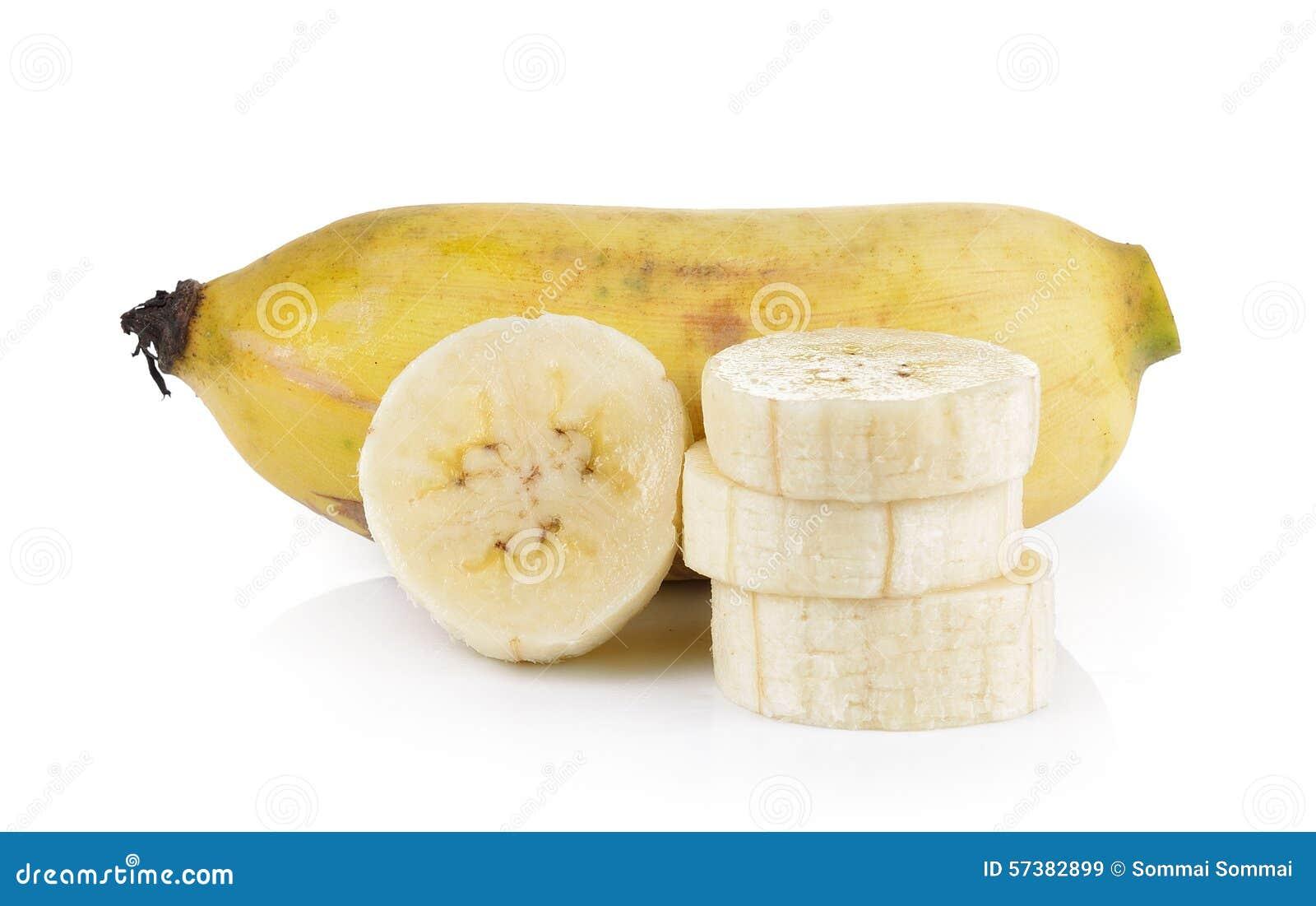 Gecultiveerde die banaan op witte achtergrond wordt geïsoleerd