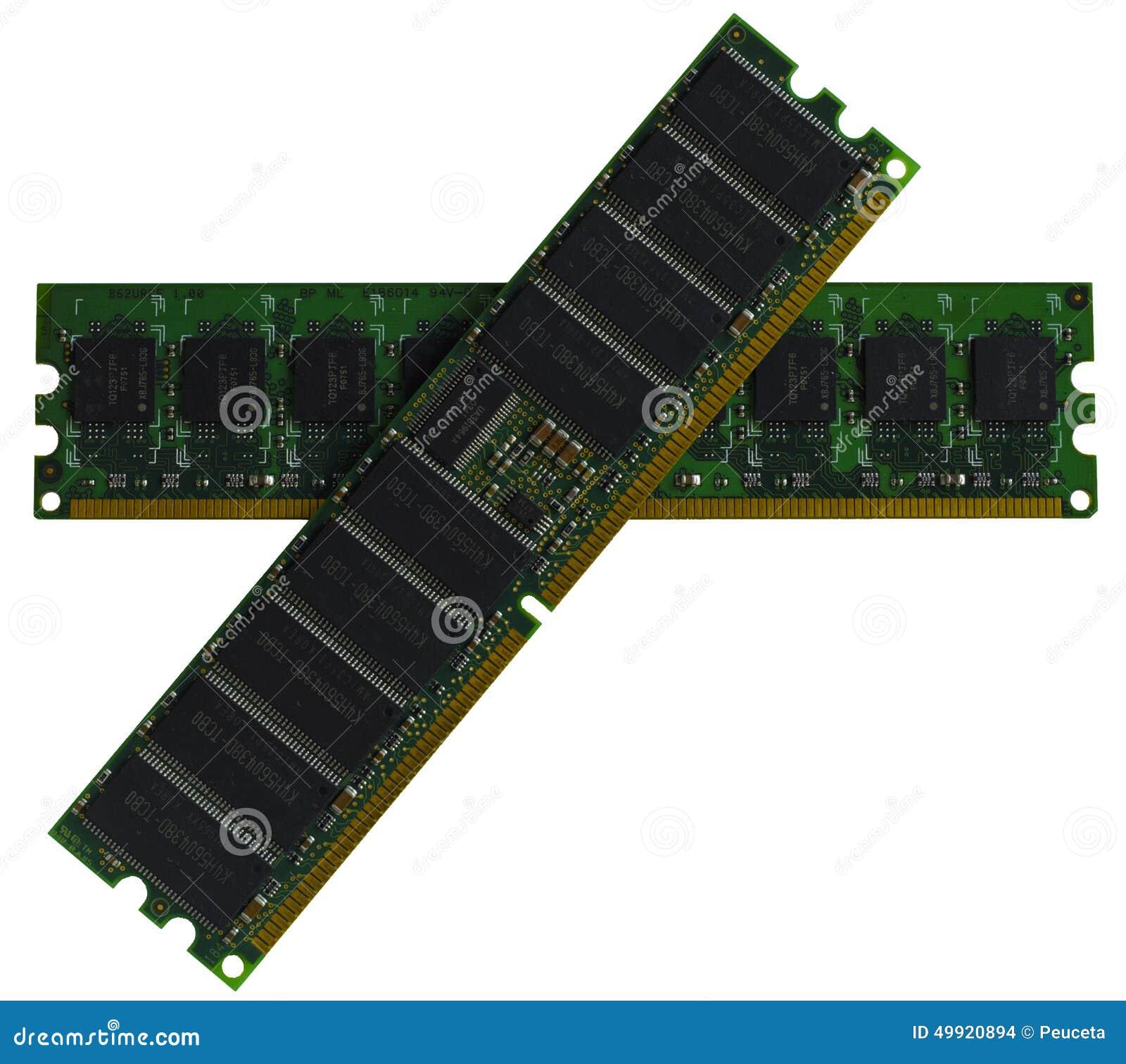 Gedächtniscomputer einige Module DDR RAM auf weißem Hintergrund