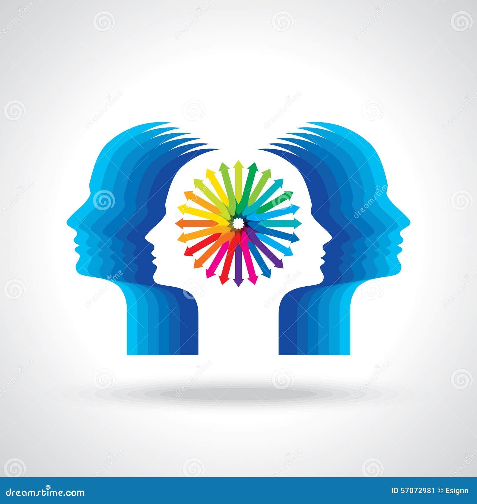 Gedachten en opties Vectorillustratie van hoofd met pijlen