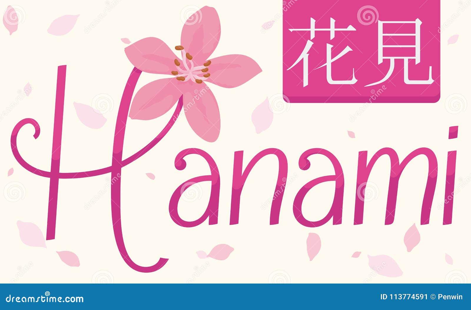 Gedenkdesign mit Cherry Flower und Aufkleber für Hanami-Festival, Vektor-Illustration