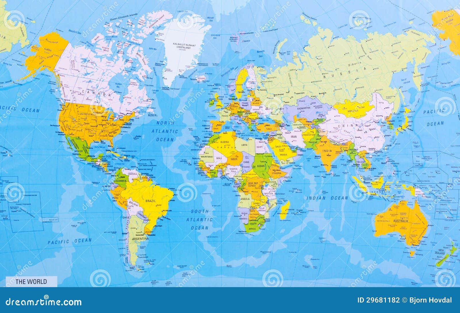 Gedetailleerde wereldkaart