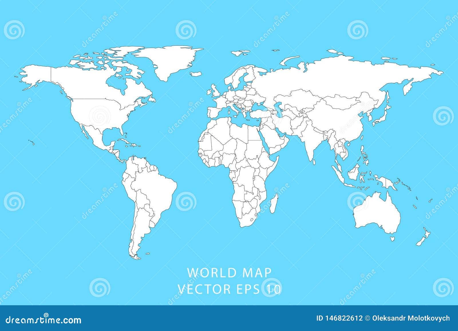 gedetailleerde wereldkaart met grenzen staten ge