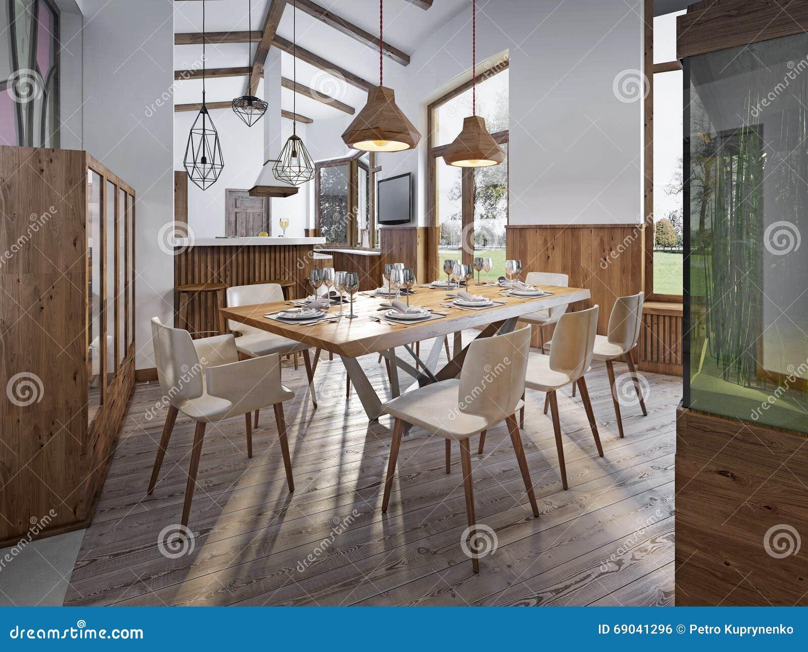 Gediente Tabelle Für Acht Im Esszimmer Im Dachboden Mit Hohen Decken  Esszimmer Mit Einem Großen Aquarium Auf Einem Hohen Sockel 3d übertragen