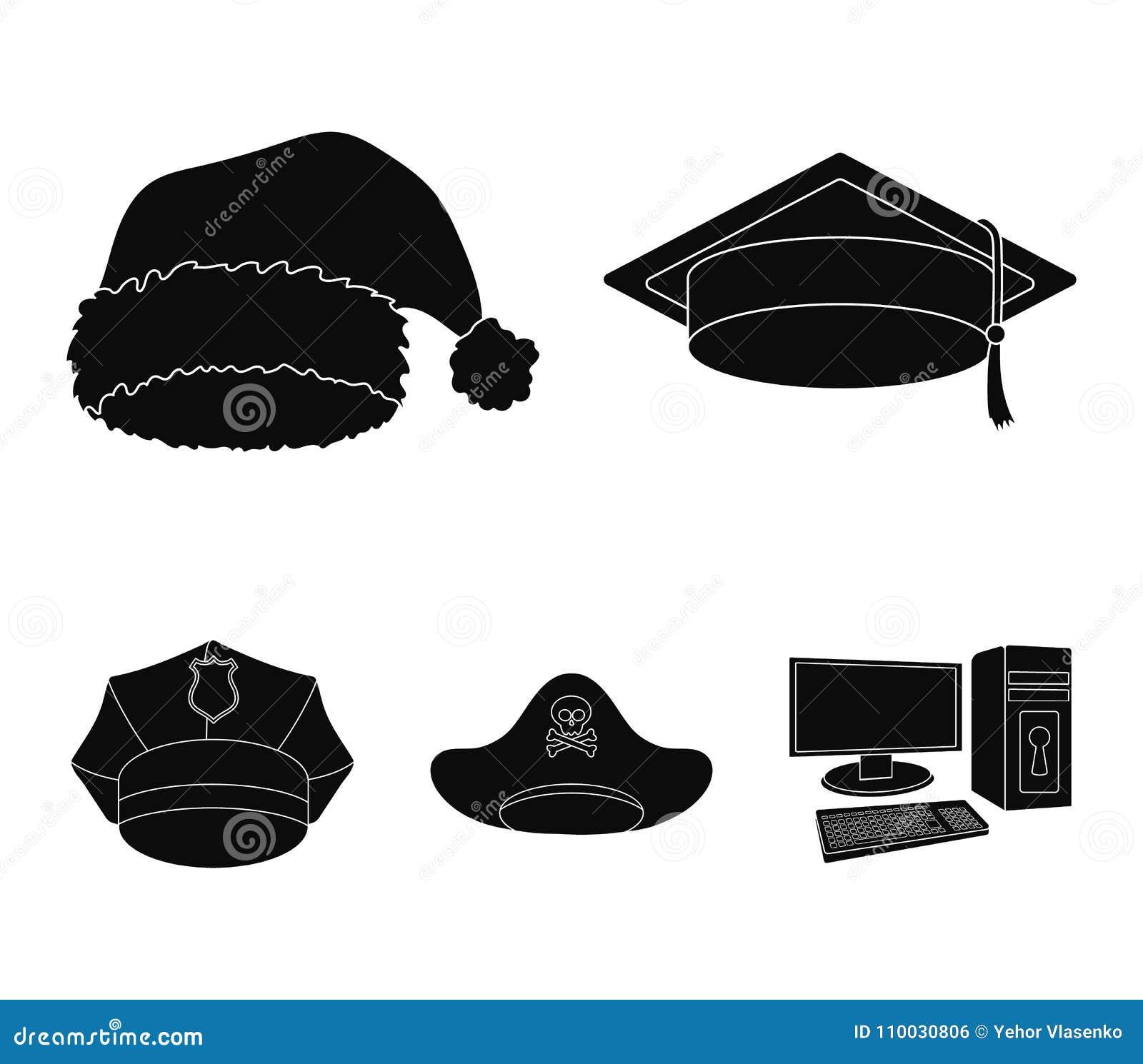 Gediplomeerde, santa, politie, piraat Hoeden geplaatst inzamelingspictogrammen in het zwarte Web van de de voorraadillustratie va