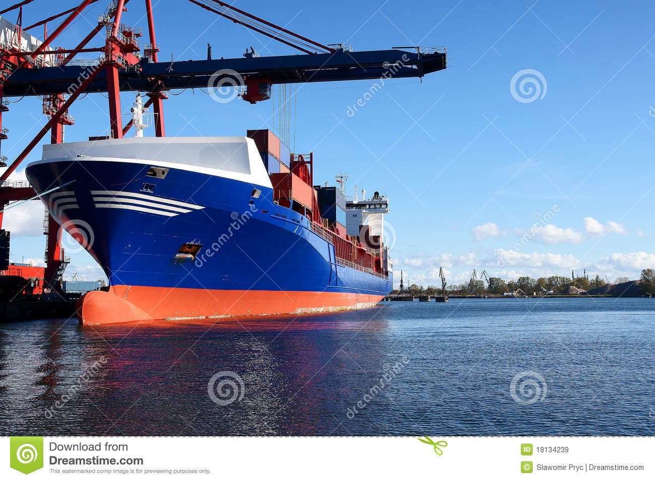Gedokt lading of containerschip