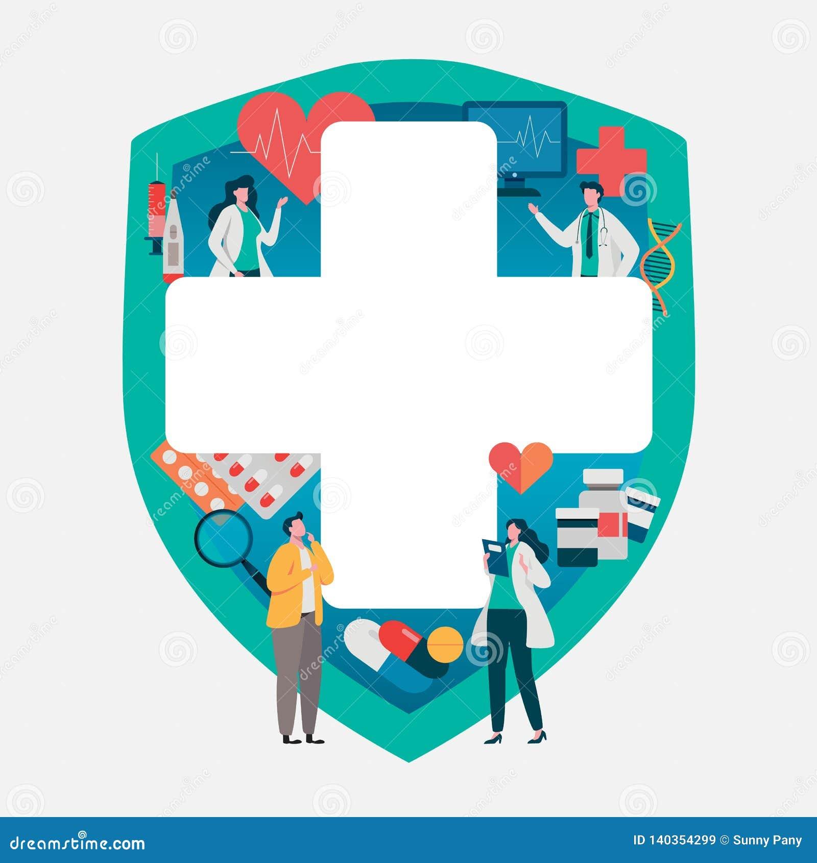 Geduldig overleg aan de arts Gezondheidszorgconcept, Medisch team Gezonde Toepassing Vlakke vectorillustratie