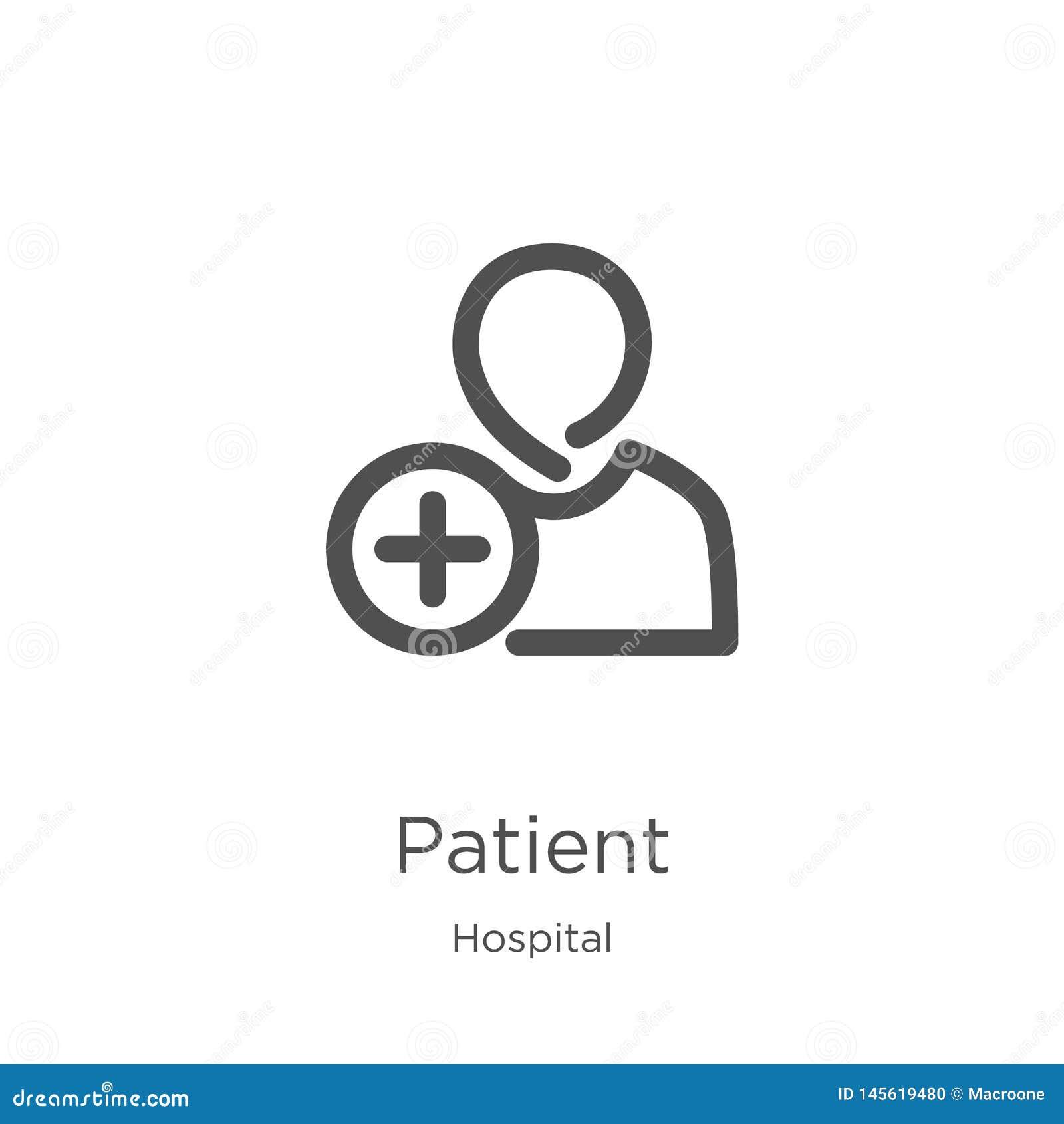 Geduldige pictogramvector van het ziekenhuisinzameling Dunne het pictogram vectorillustratie van het lijn geduldige overzicht Ove