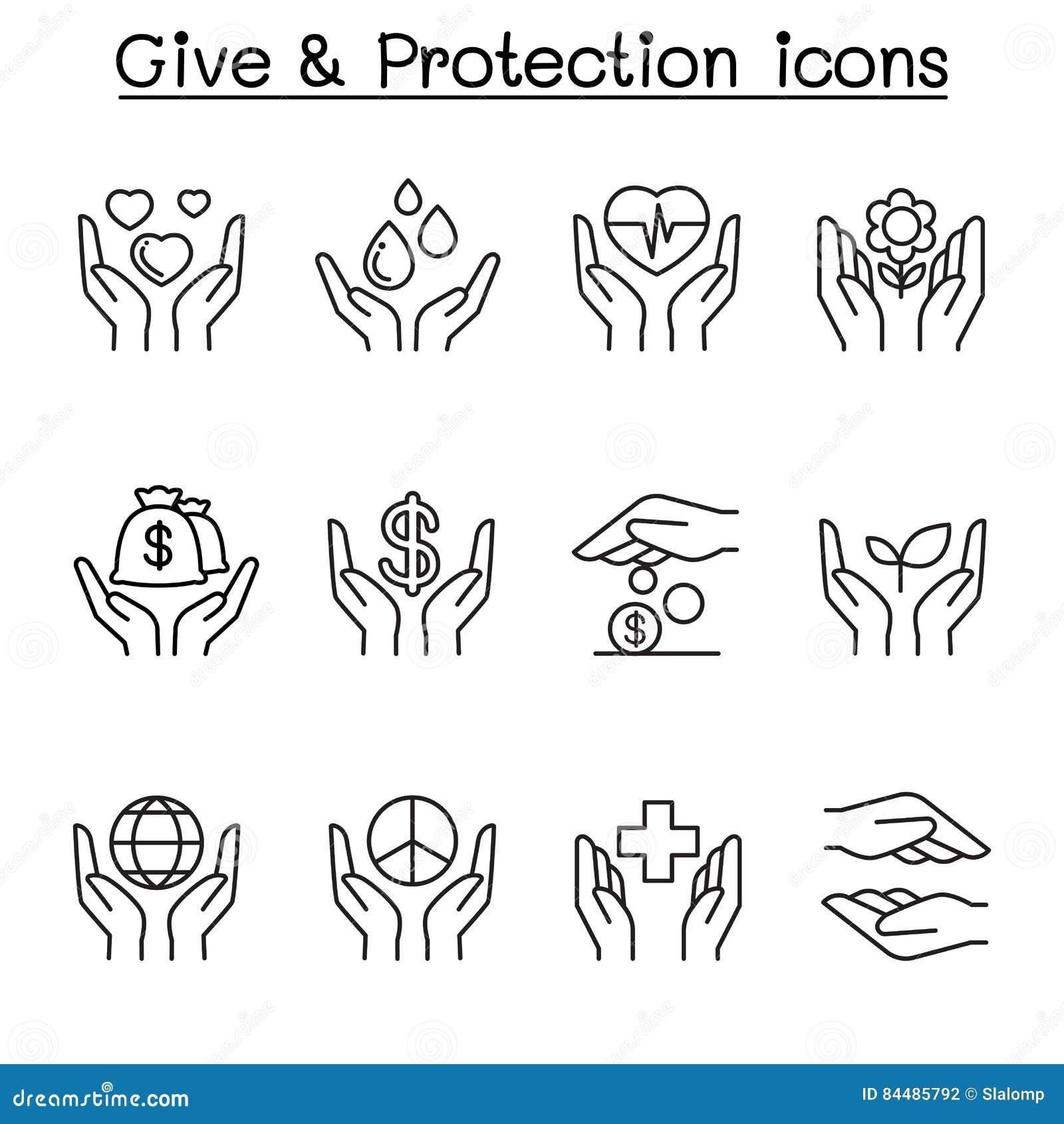 Geef, Bescherming, Schenking, Liefdadigheidspictogram in dunne lijnstijl die wordt geplaatst