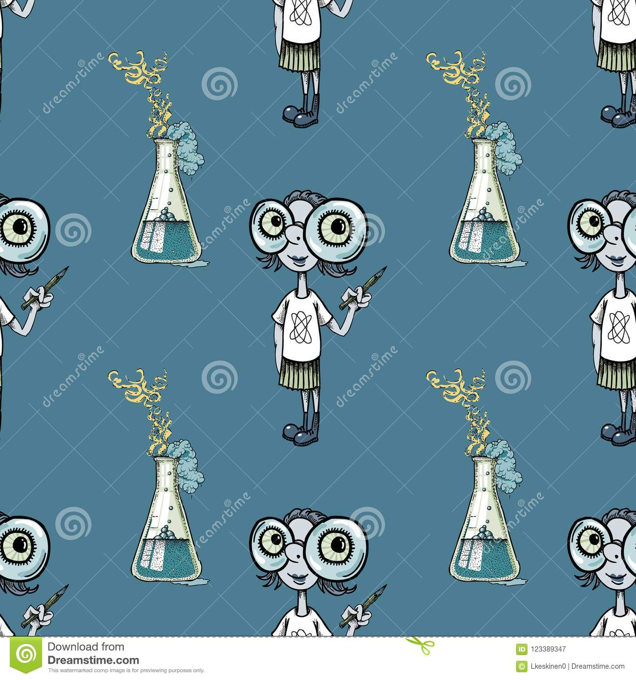 Geek girl and scientific experiment seamless pattern