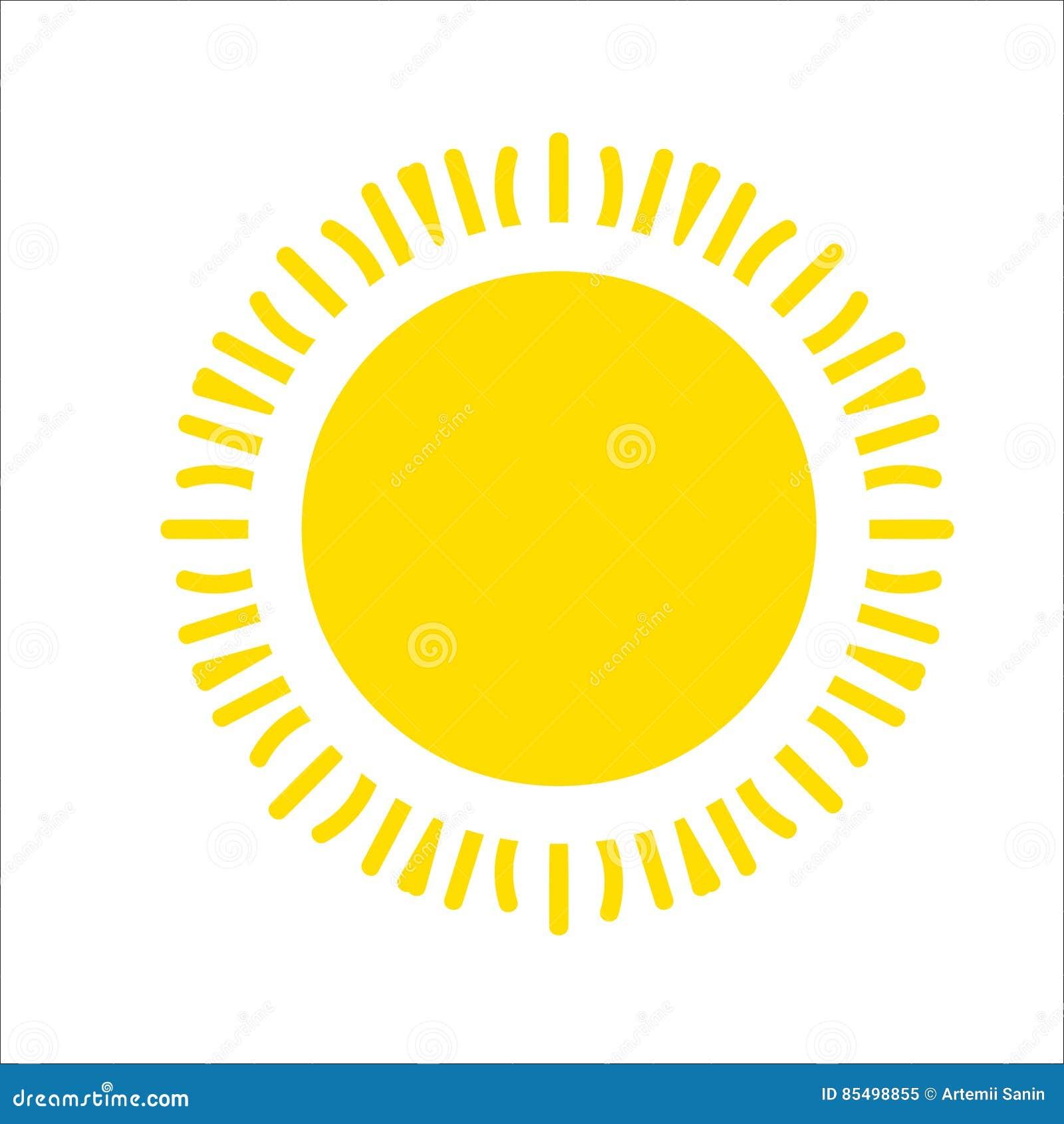 Geel die zonpictogram op witte achtergrond wordt geïsoleerd Vlak zonlicht, teken Vector de zomersymbool voor websiteontwerp, Web