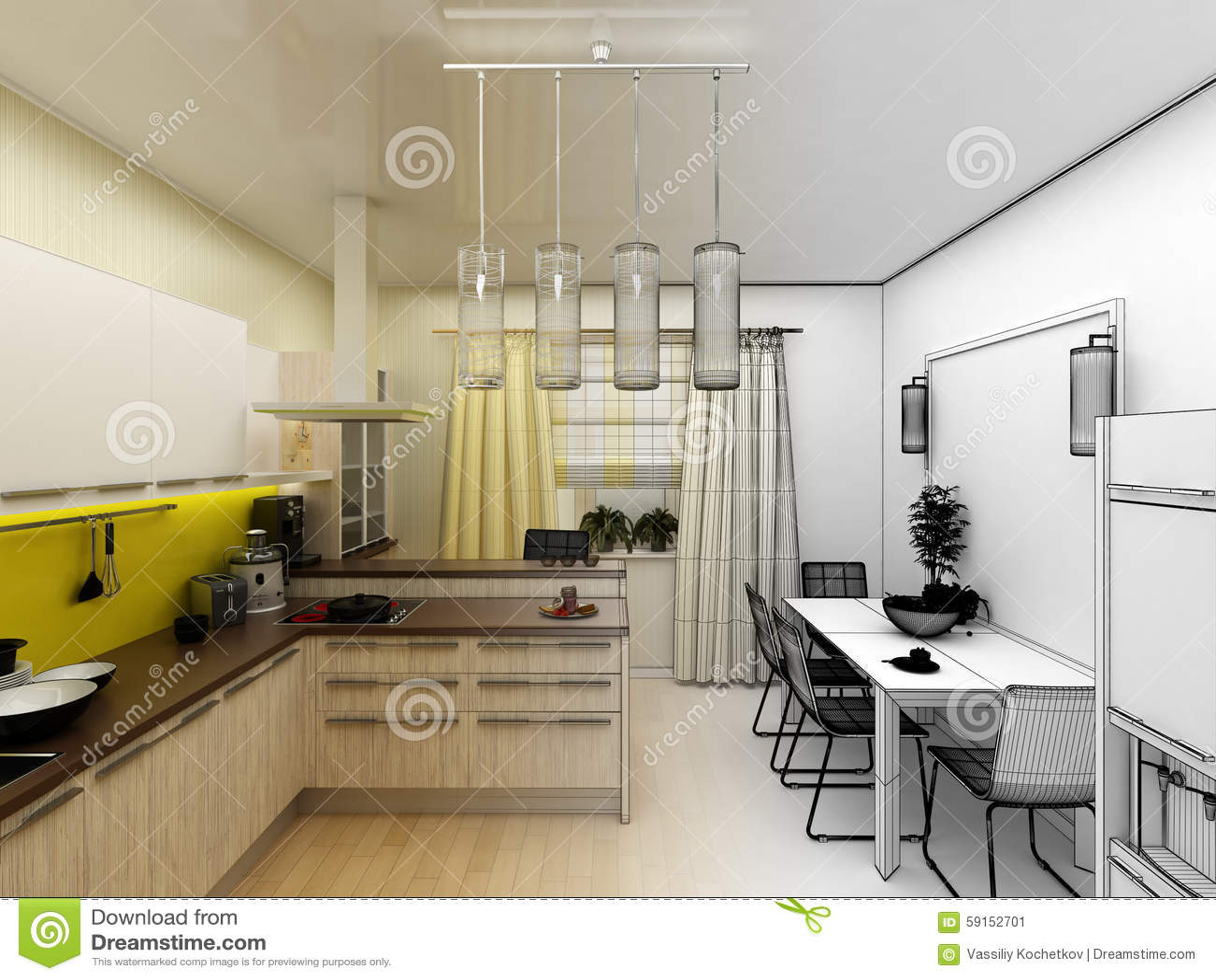 Geel De Keuken : Geel modern keuken binnenlands 3d concept stock illustratie