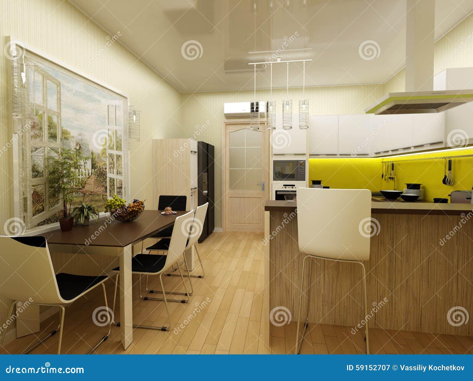 Geel De Keuken : Geel modern keuken binnenlands d concept stock illustratie