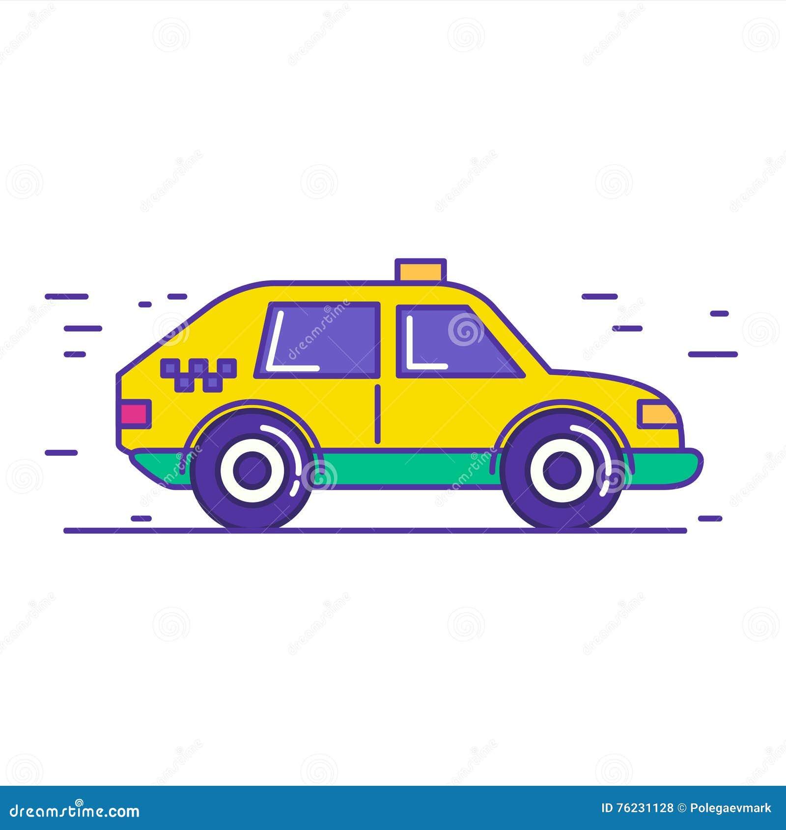 Geel openbaar het pictogramontwerp van de taxiauto in de in stijl van de beeldverhaallijn