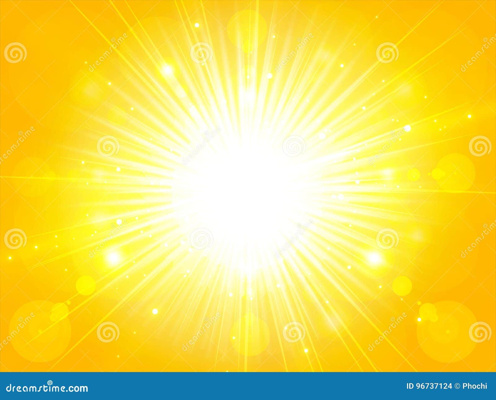 Geeloranje gebarsten schitterende de zomerzon van de de zomerzon licht, bac