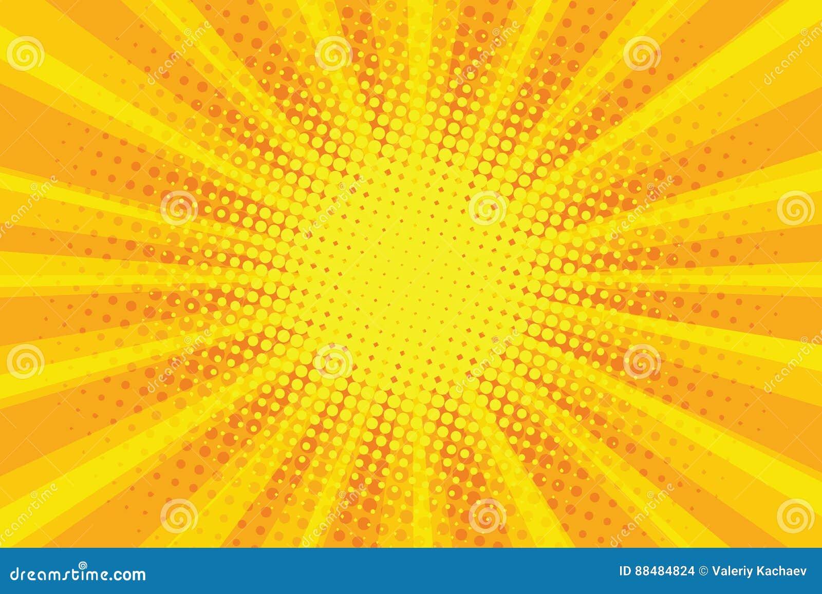Geeloranje retro de stralenachtergrond van het zonpop-art