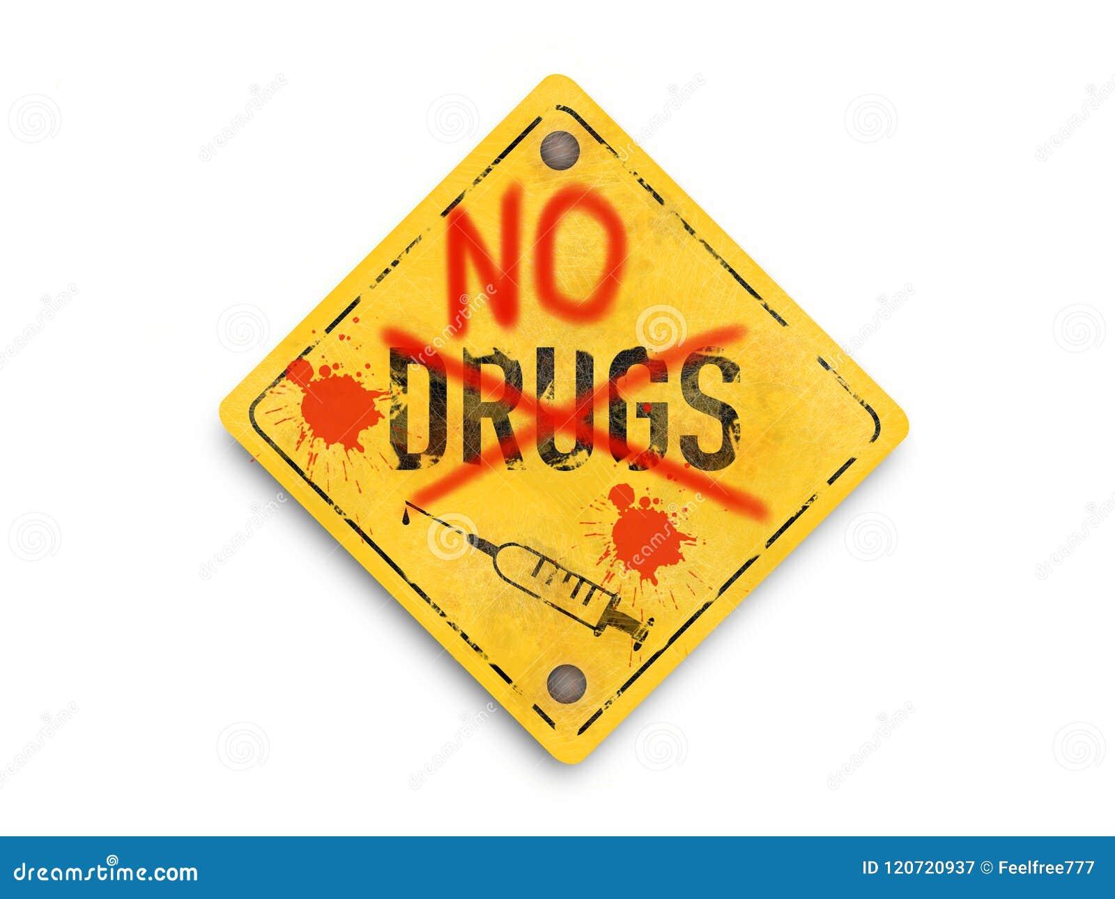 Geen drugs, spuit, artistiek stijlembleem, super kwaliteits abstracte bedrijfsaffiche
