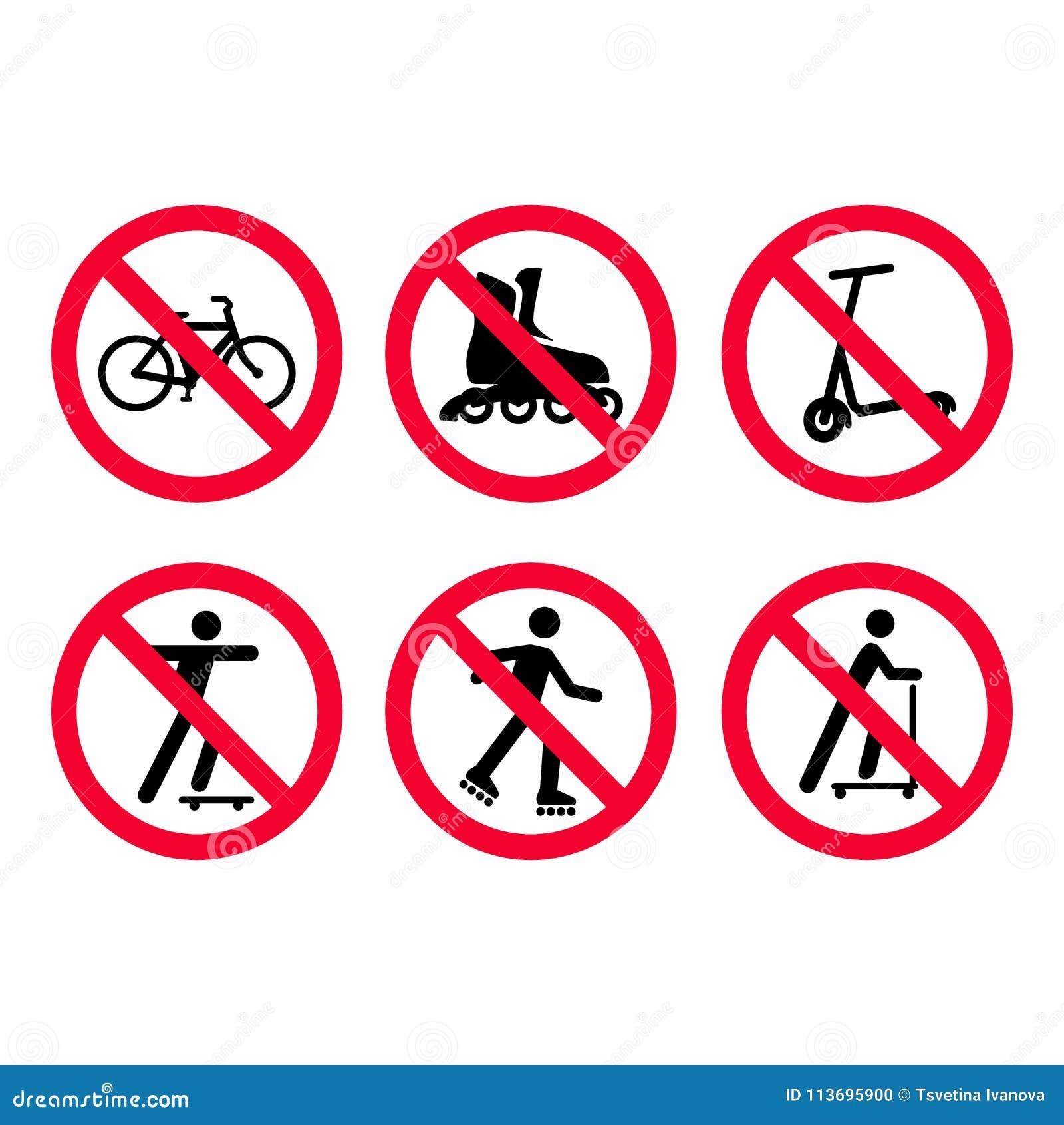 Geen fietsen, het biking die, geen rol, geen geplaatste tekens van het autopeddenverbod schaatsen