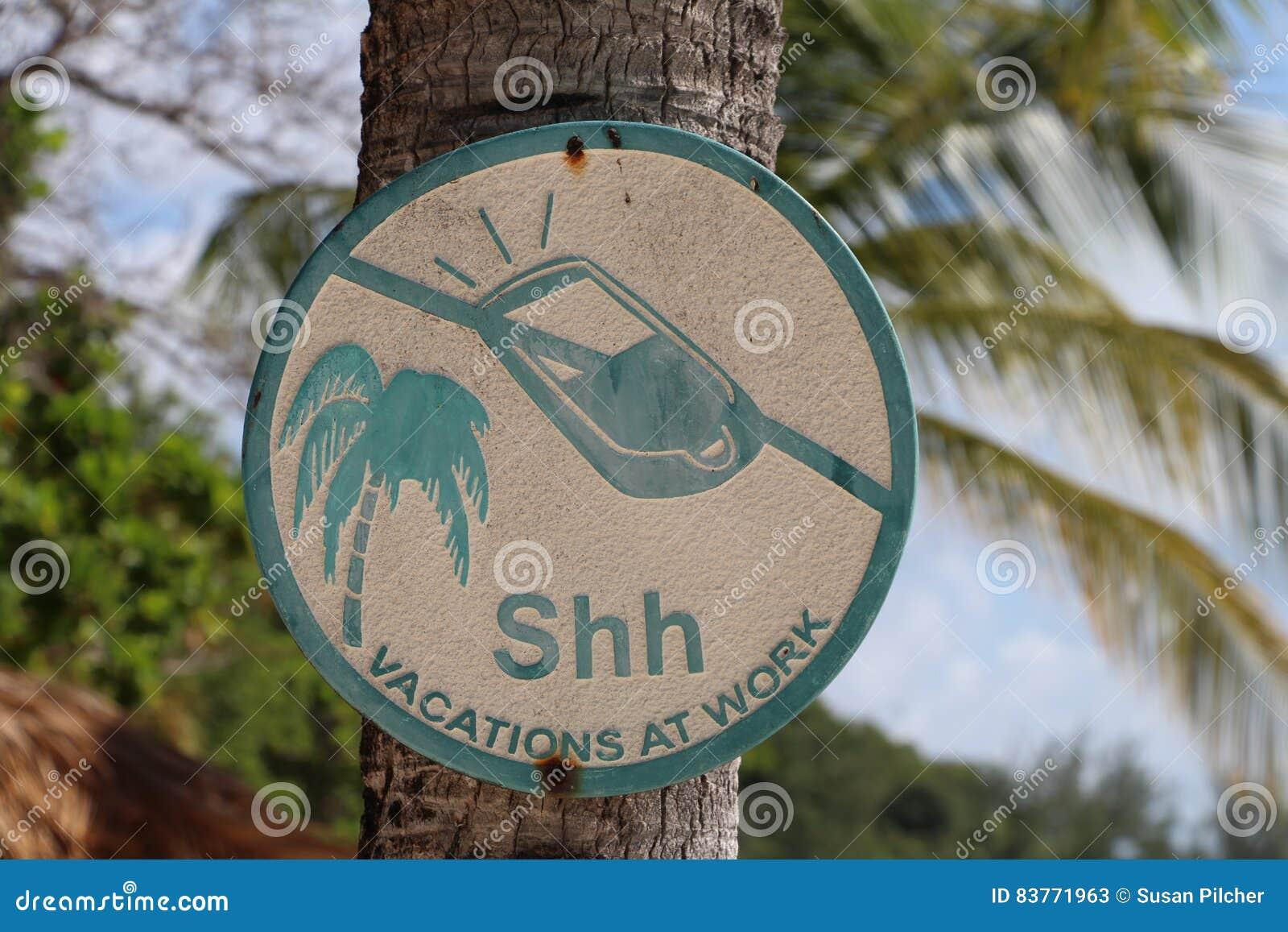 Geen mobiel telefoonteken die op palm, ssh vakanties op het werk hangen