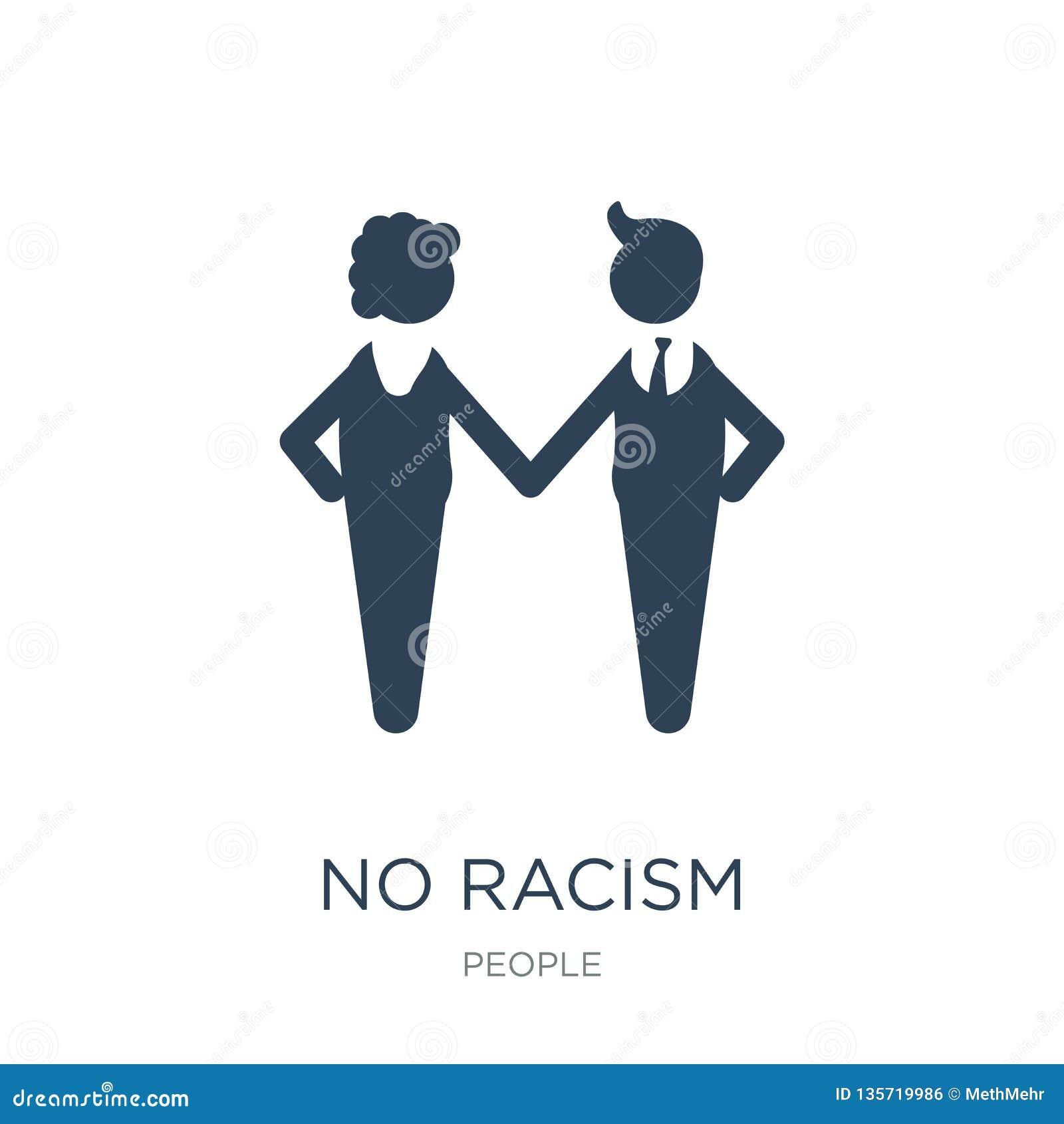 Geen racismepictogram in in ontwerpstijl geen die racismepictogram op witte achtergrond wordt geïsoleerd geen eenvoudige en moder