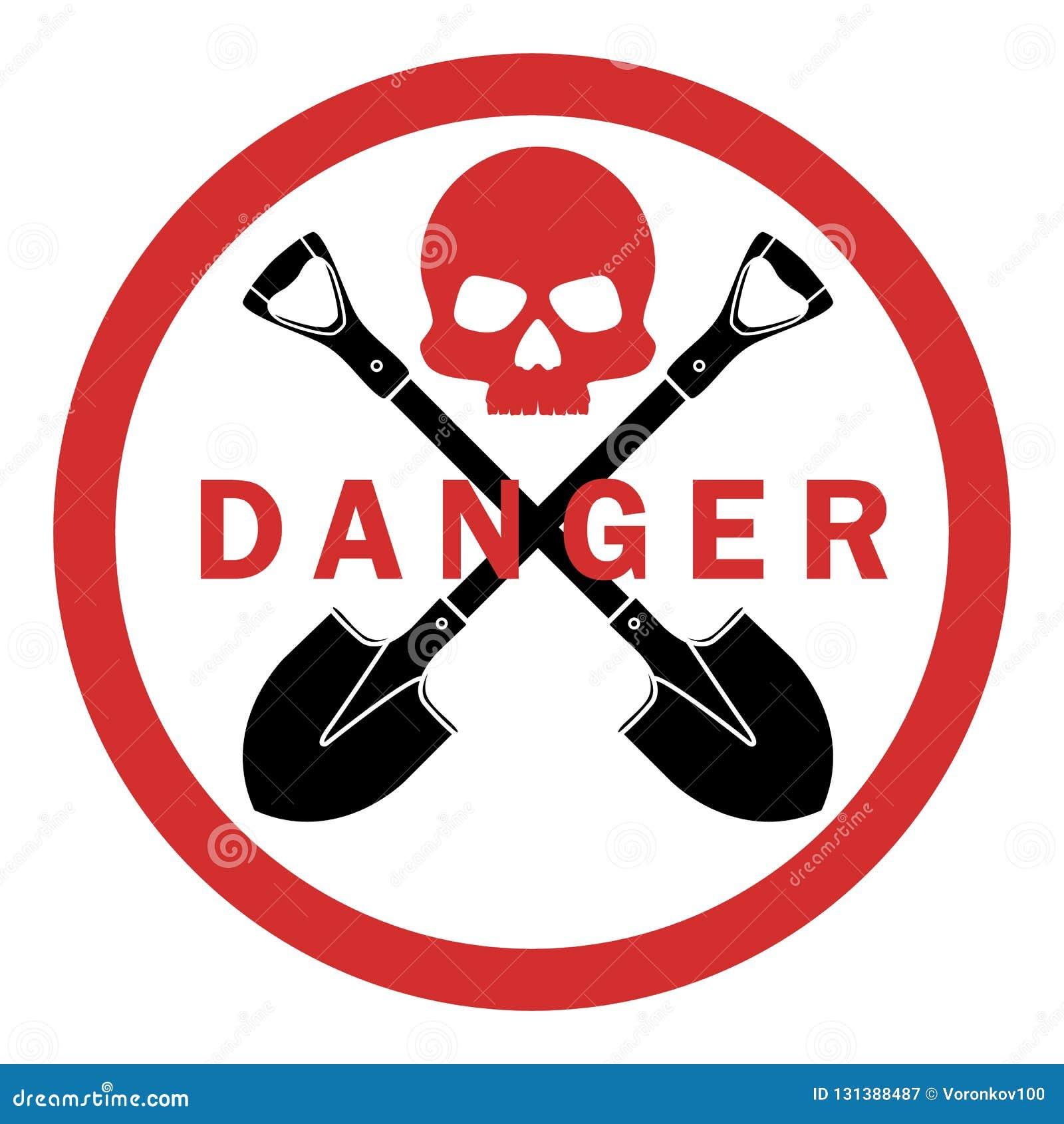 Geen schop Het is verboden om te graven Het teken van verbod is gevaarlijk Schedelbeenderen Vectordiepictogram op lichte achtergr