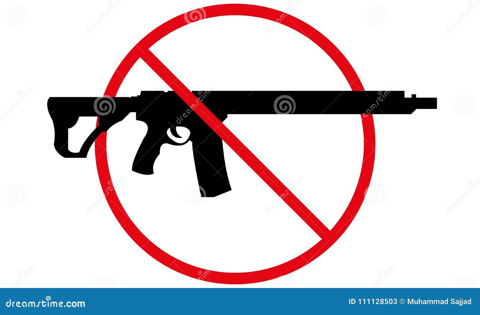 Geen toegestane kanonnen ondertekenen Geen wapen toegestaan symbool