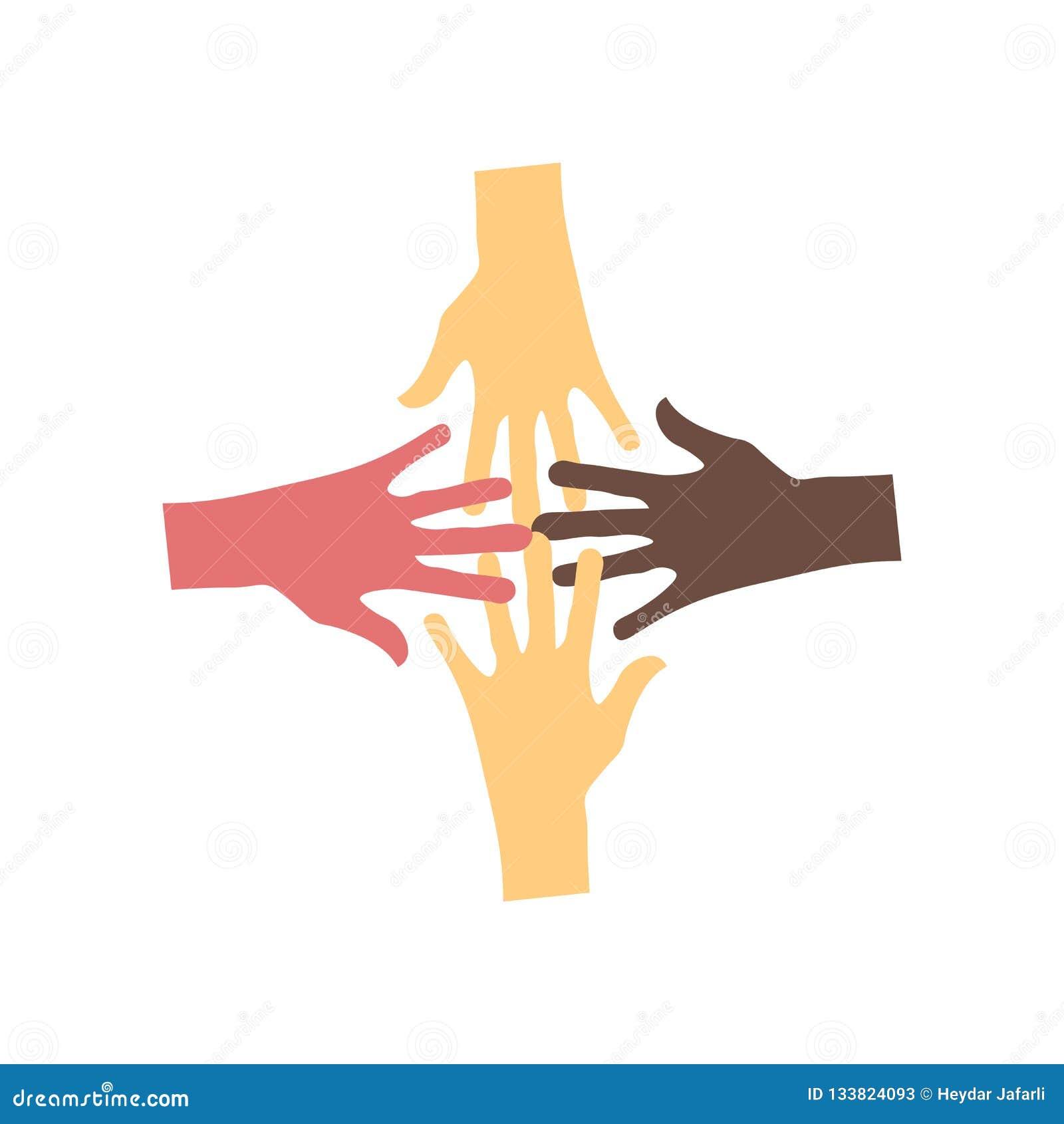 Geen vectordieteken en symbool van het racismepictogram op witte achtergrond, Geen concept van het racismeembleem wordt geïsoleer