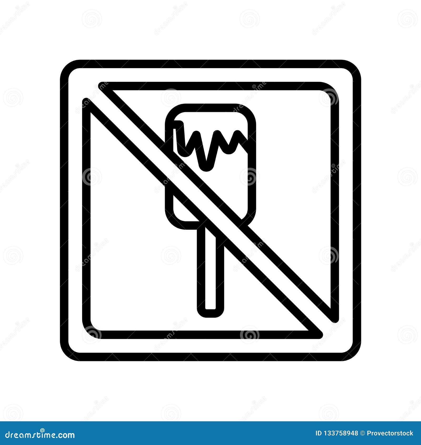 Geen vectordieteken en symbool van het roomijspictogram op witte backg wordt geïsoleerd