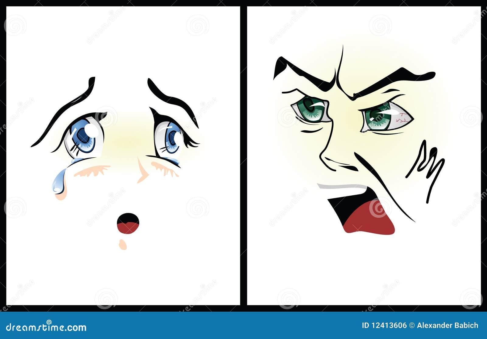 Des zornes und der traurigkeit abbildung in der art von anime