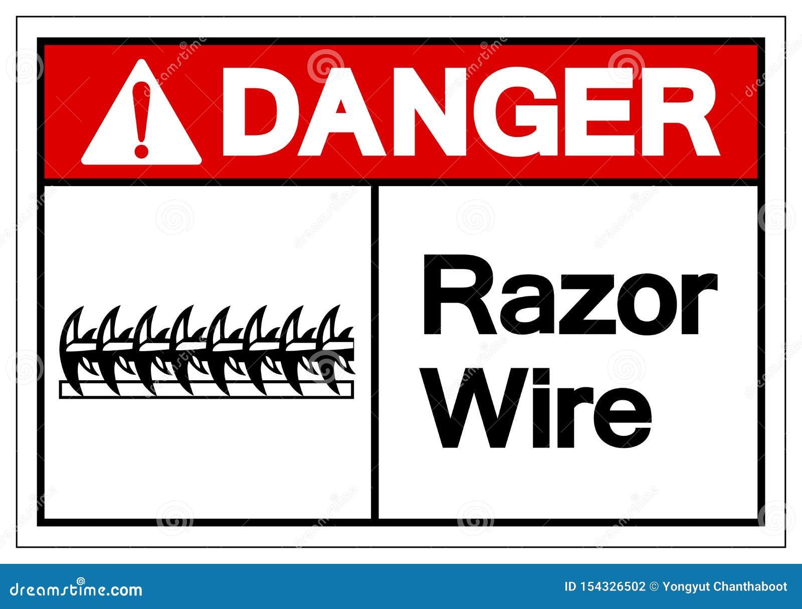 Gefahrenrasiermesser-Draht-Symbol-Zeichen, Vektor-Illustration, lokalisiert auf weißem Hintergrund-Aufkleber EPS10