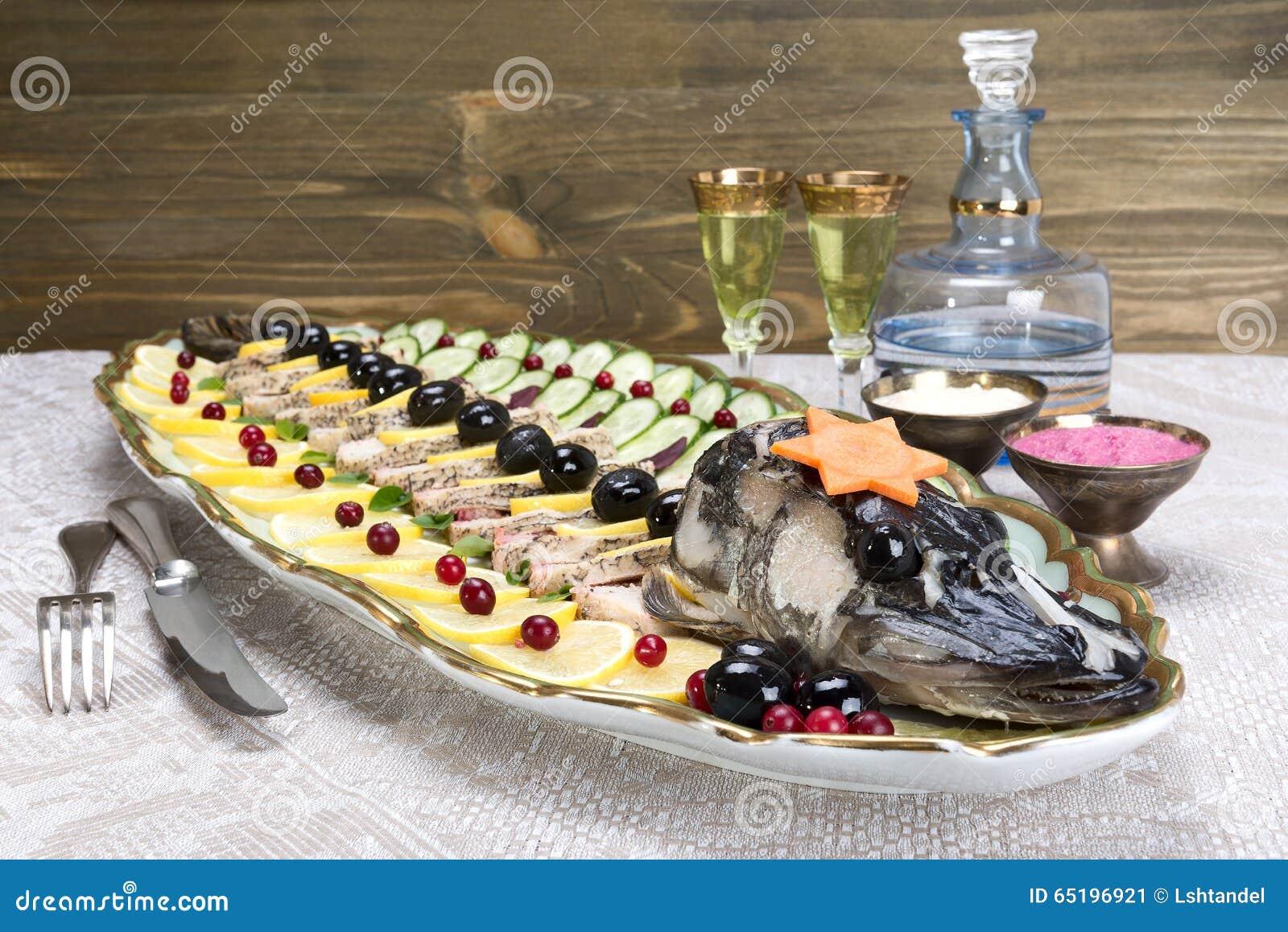 Gefilte fish stuffed fish stuffed pike stock photo for Jewish fish dish