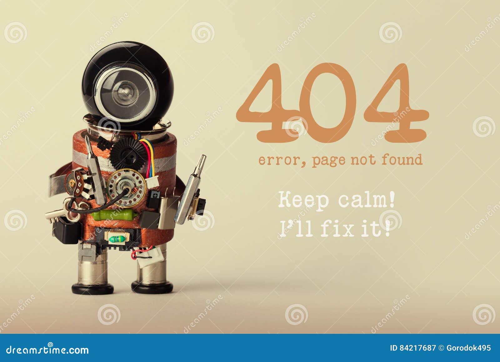 Gefundene Schablone der Seite nicht für Website Roboterspielzeugschlosser mit Schraubenzieher und die Warnung mit 404 Fehlern hal