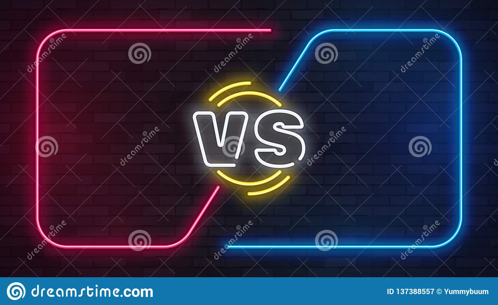 Gegen Neon Gegen Kampfspielfahne mit leeren Neonrahmen Boxveranstaltungsduell, machen Wettbewerbsgeschäftskonfrontation zu Schlac