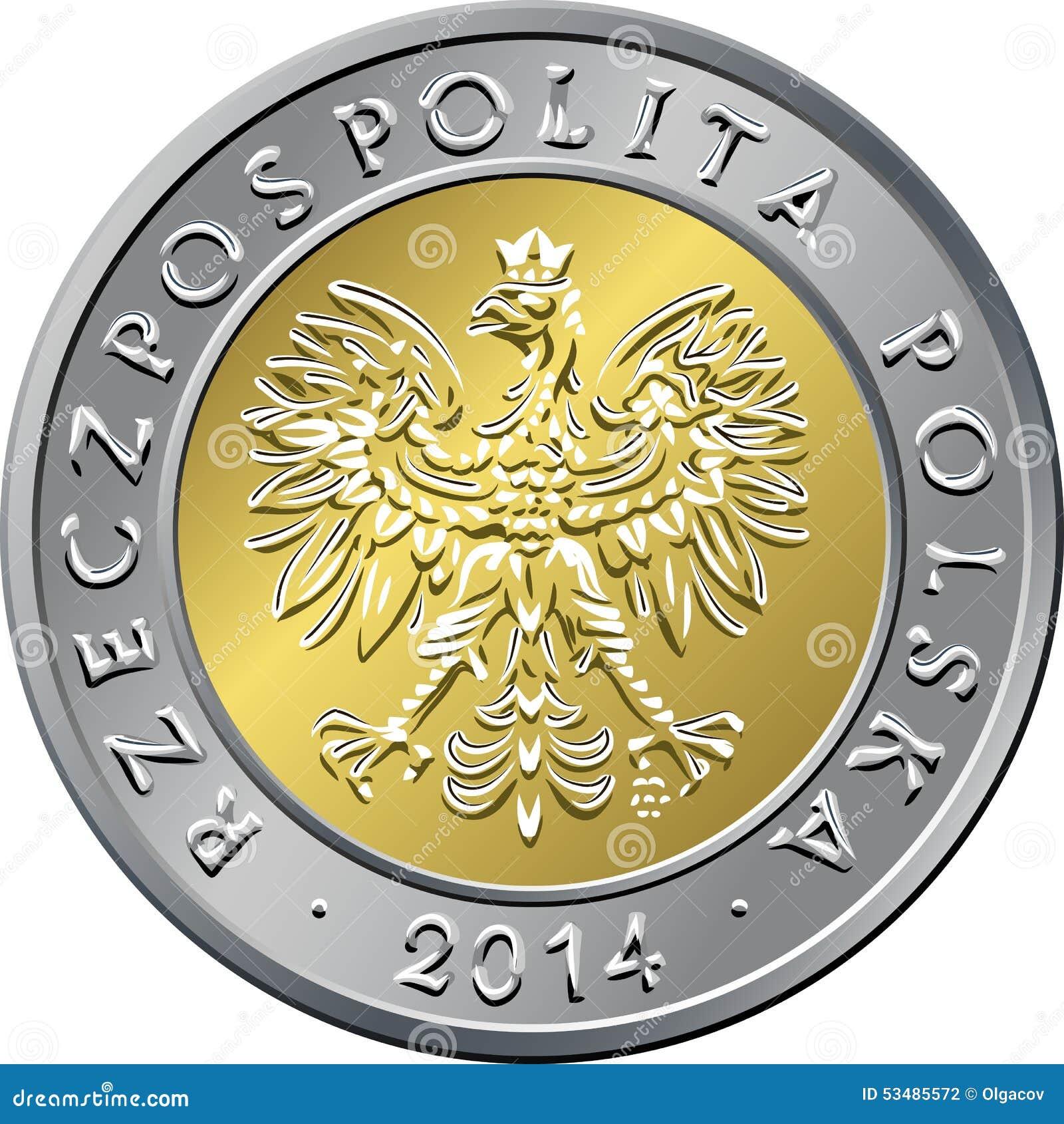 Gegenstücck Polnisches Geld Fünf Zloty Münze Vektor Abbildung
