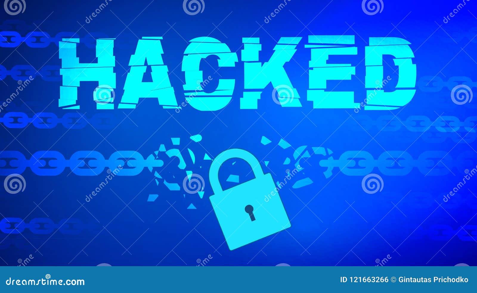 Gegevens binnendrongen in een beveiligd computersysteem thema met gebroken ketting