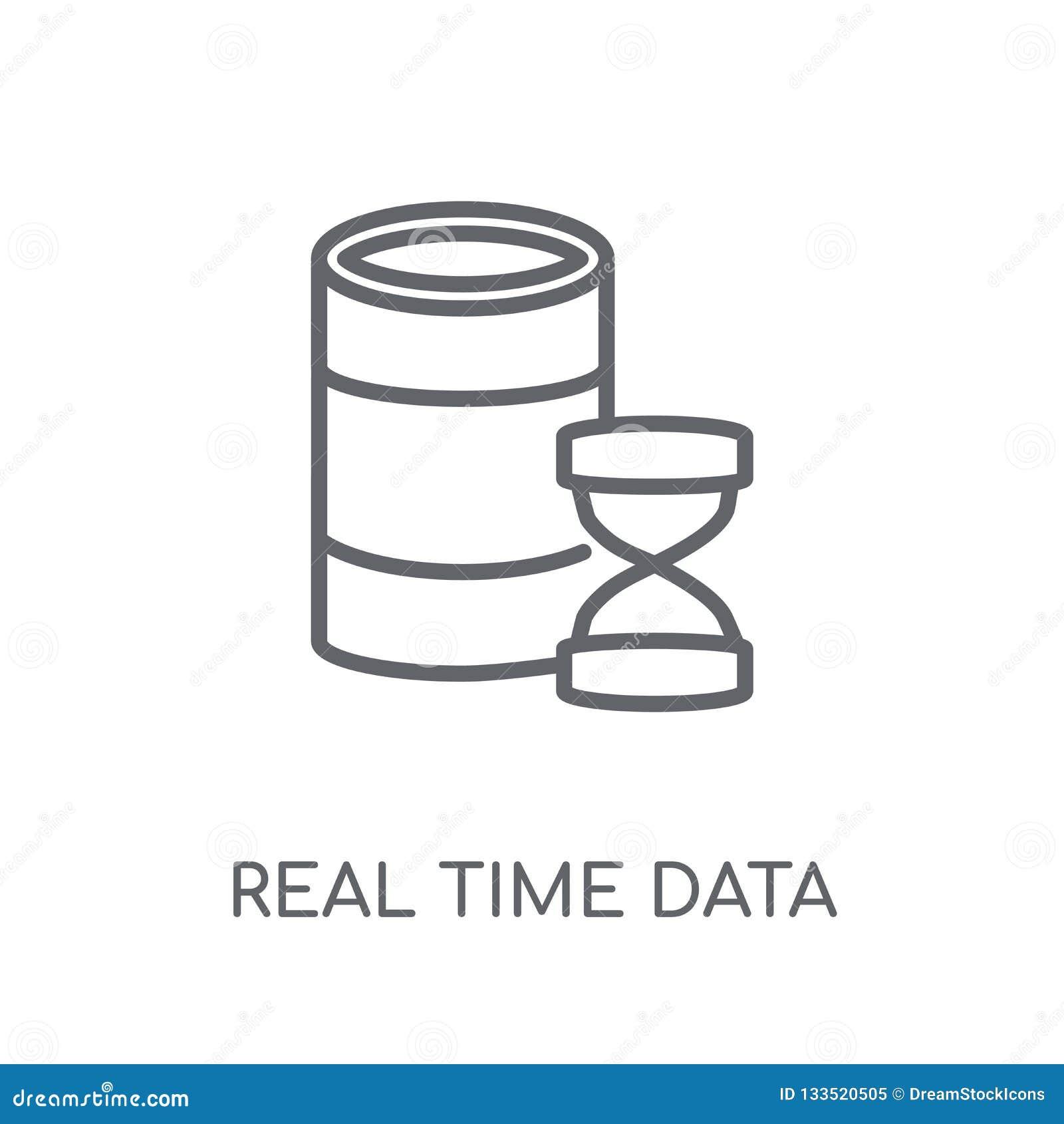 Gegevens lineair pictogram in real time Het moderne embleem in real time c van overzichtsgegevens