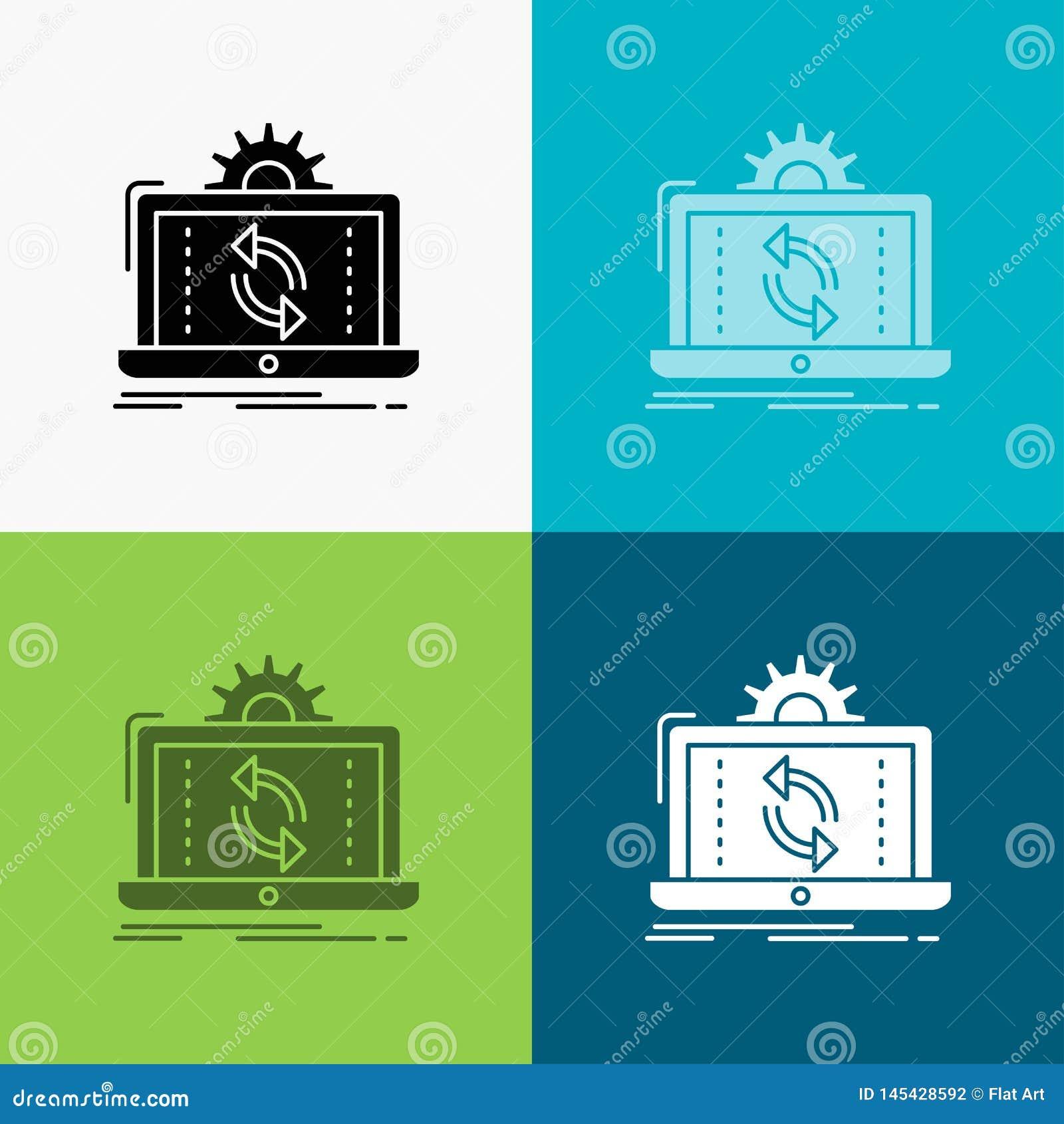 Gegevens, verwerking, Analyse, rapportering, synchronisatiepictogram over Diverse Achtergrond glyph stijlontwerp, voor Web dat en