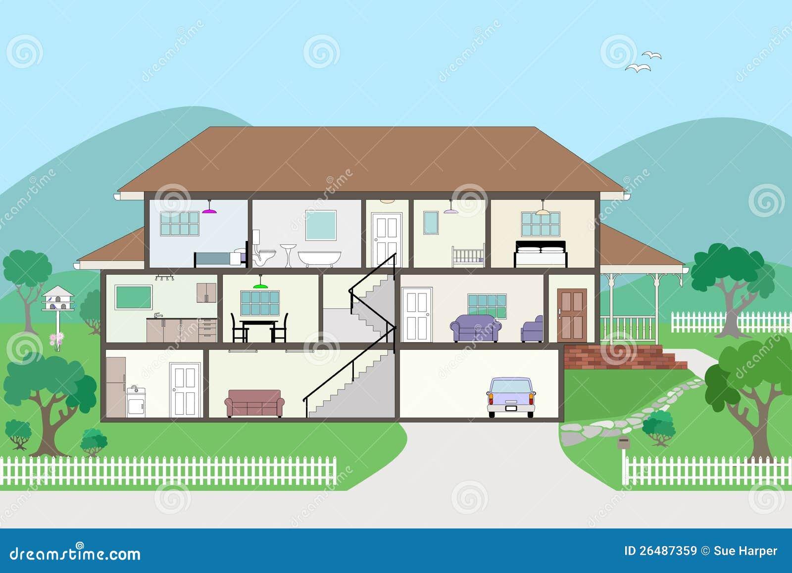 Gegroepeerd en het gelaagde huis van de dwarsdoorsnede van het schema vector illustratie - Het huis van de cabriolet ...