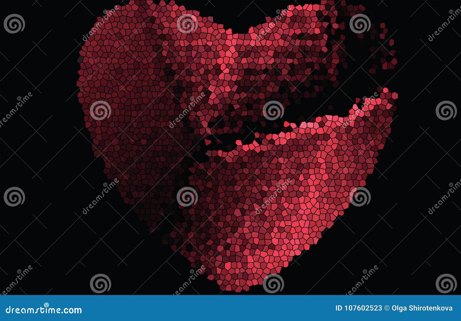 Gehacktes, gebrochenes rotes Herz vom Buntglas auf einem schwarzen Hintergrund Für Valentinsgrußtag
