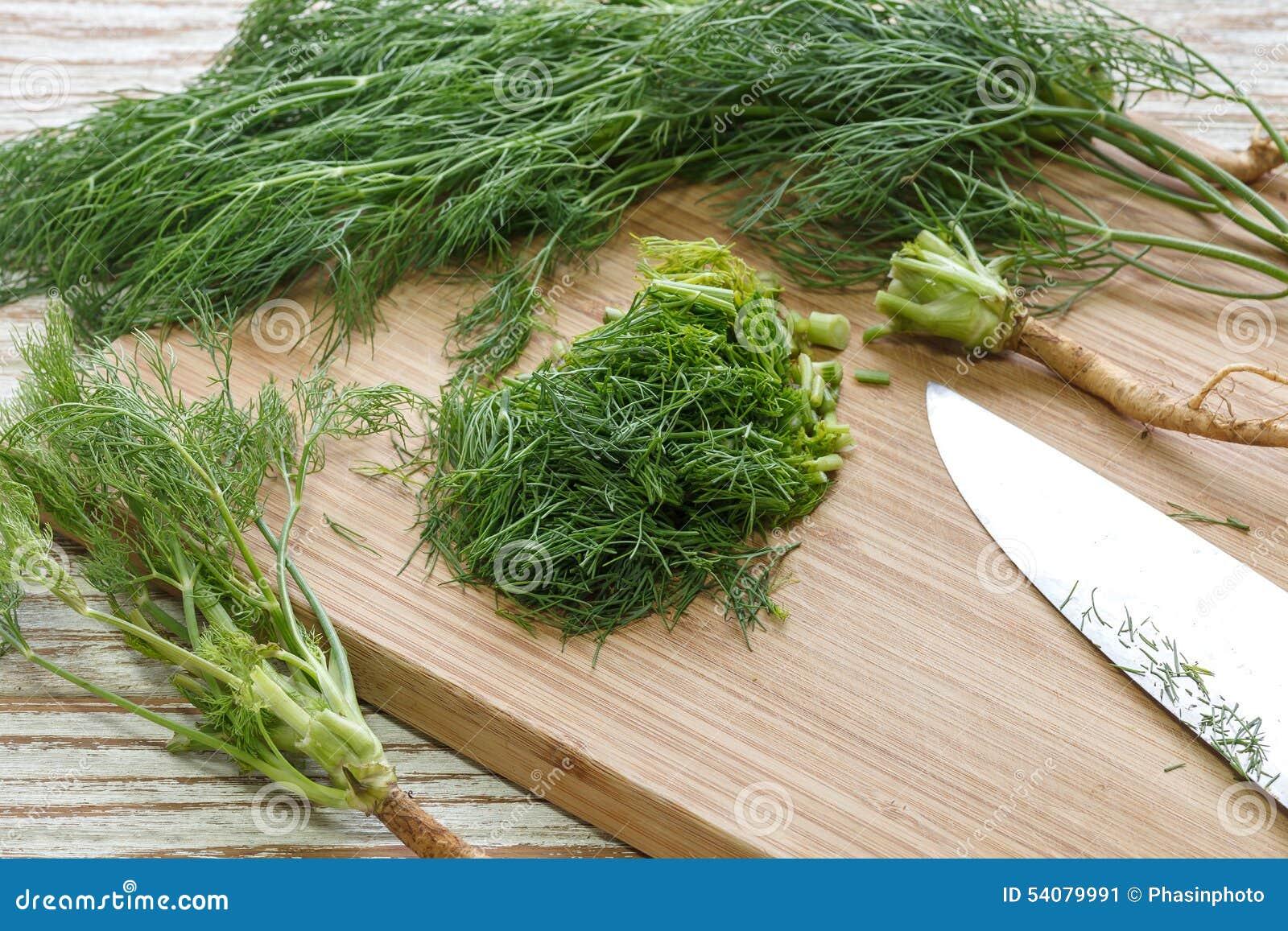 Gehakt de aard organische groen van het dille plantaardige ingrediënt